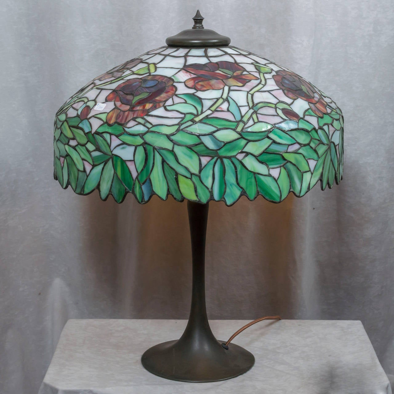 this leaded glass table lamp oriental poppy ca 1910 is no longer. Black Bedroom Furniture Sets. Home Design Ideas
