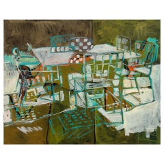 """Green Shadows and Light, Glass Table"" by Rise Delmar Ochsner 2005"