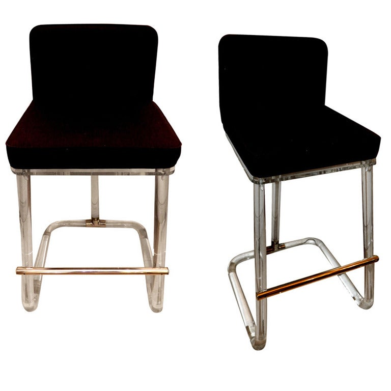 Pair of Lion in Frost St. Bar Stools For Sale