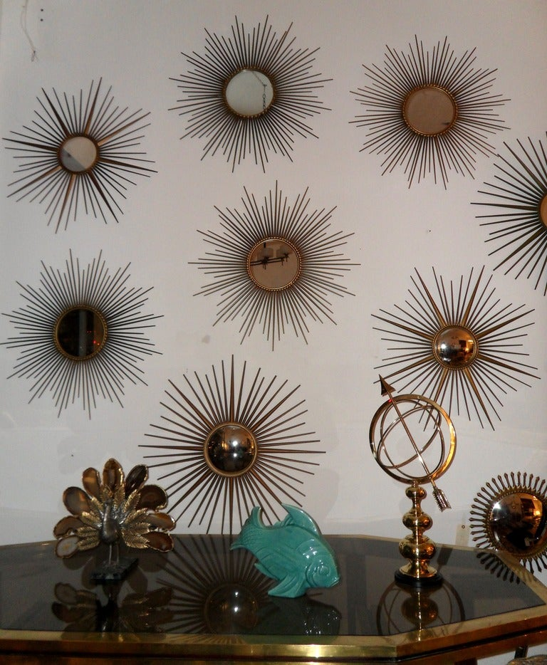 Mid-20th Century French Chaty Sunburst Mirrors For Sale