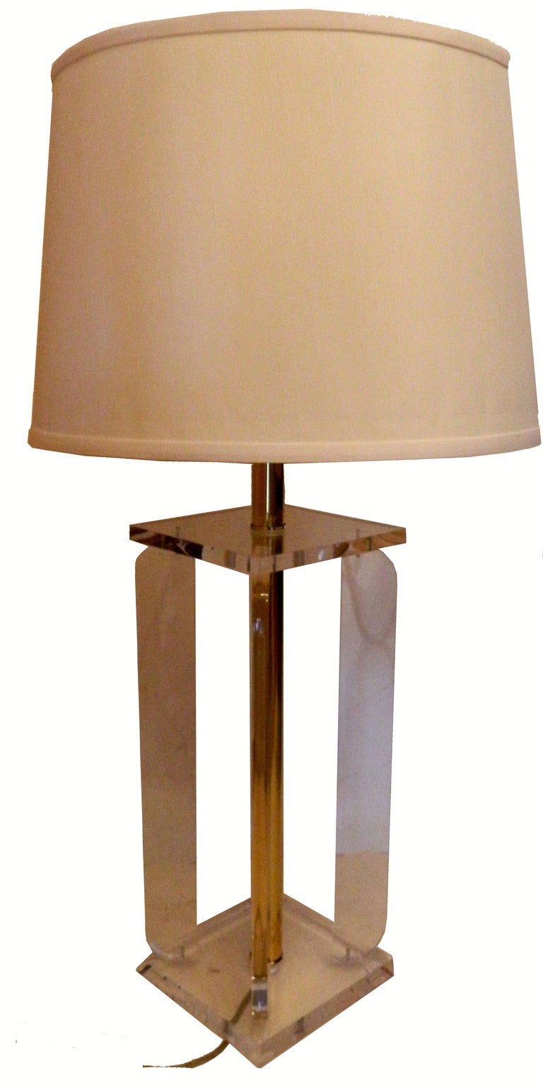 Pair of Floridian Lucite table lamps, very pure line.