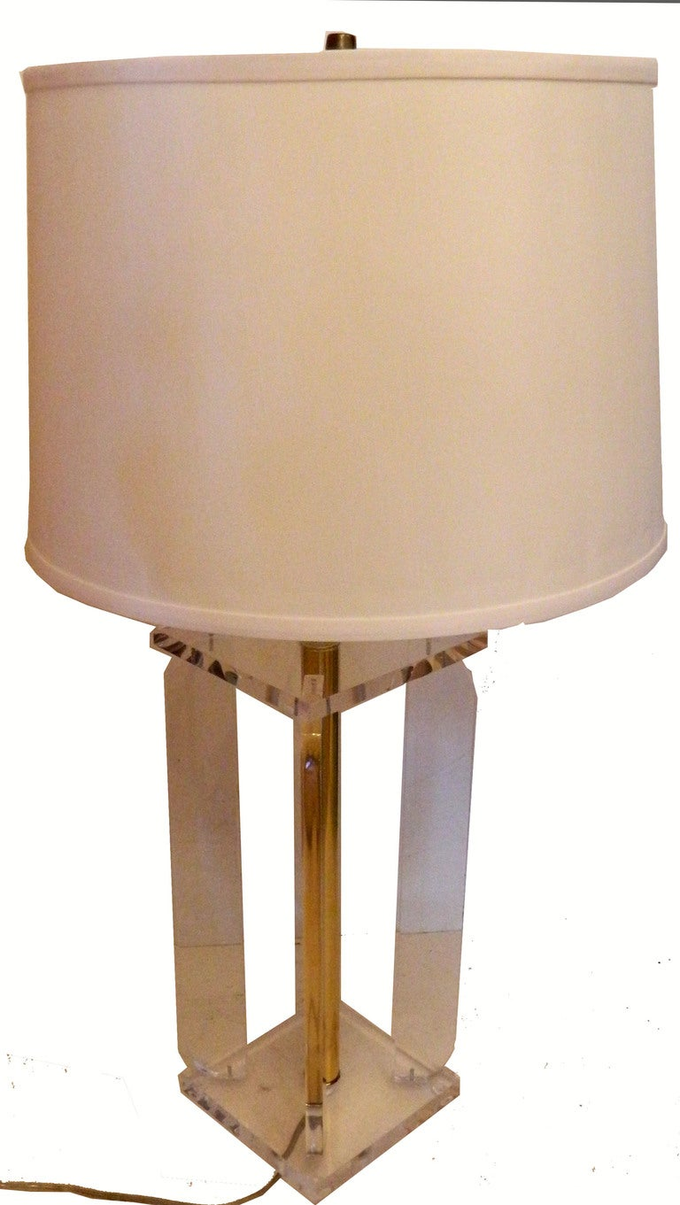 American Pair Of Lucite Table Lamps For Sale