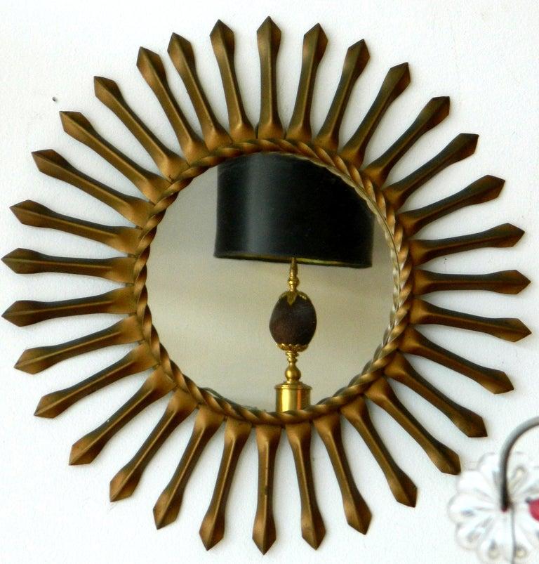 Signed Chaty Vallauris Mid-Century Modern Brass Sunburst  Mirrors - Pair For Sale 1