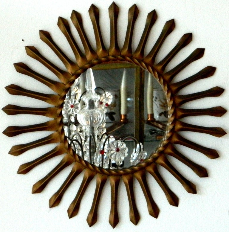 Metal Signed Chaty Vallauris Mid-Century Modern Brass Sunburst  Mirrors - Pair For Sale