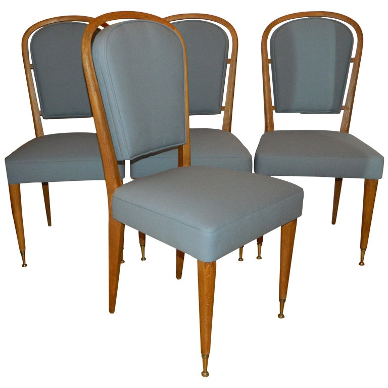 Set Of 4 Chairs By Jules Leleu For Sale
