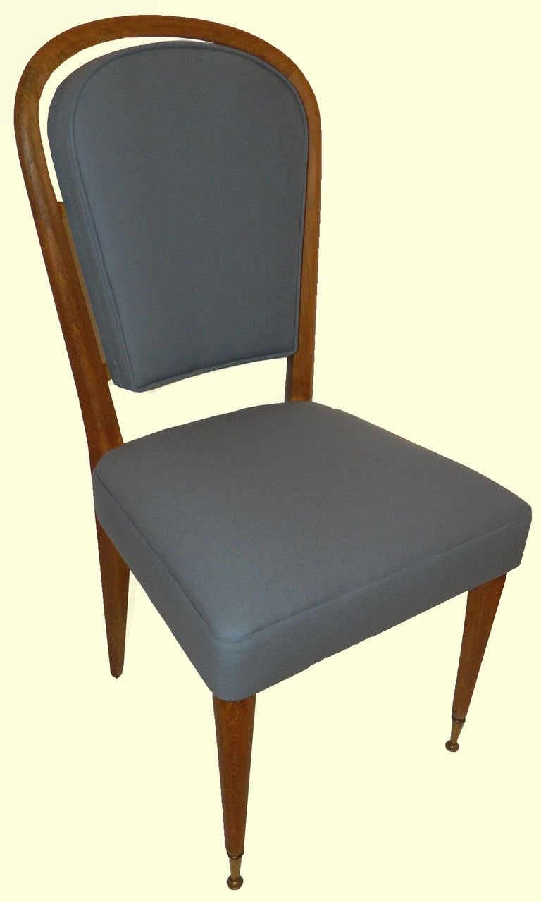 Set of 4 chairs by Jules LELEU newly reupholstered with an original color fabric.