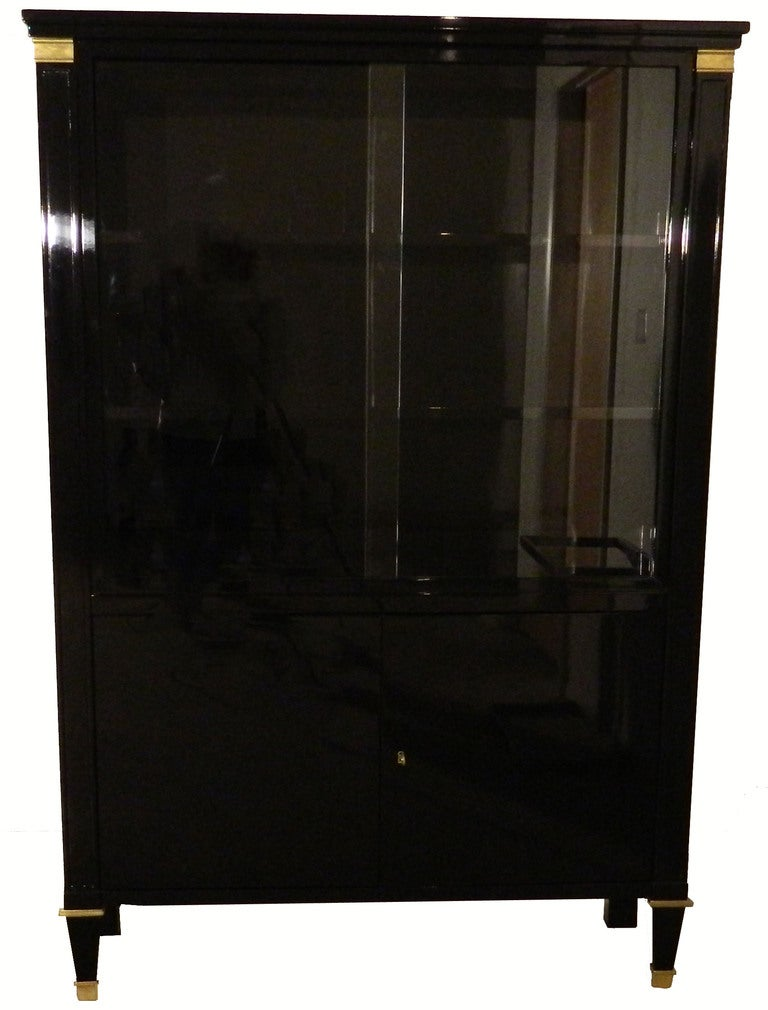 High gloss finished black lacquered mahogany