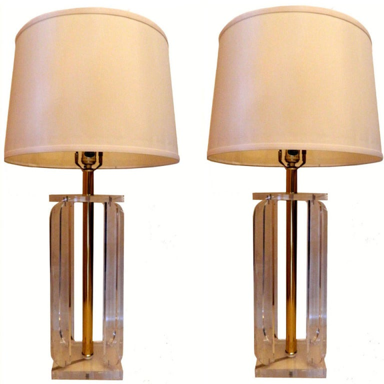 Pair Of Lucite Table Lamps For Sale