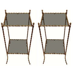 Maison Bagues Pair of Square Side Tables