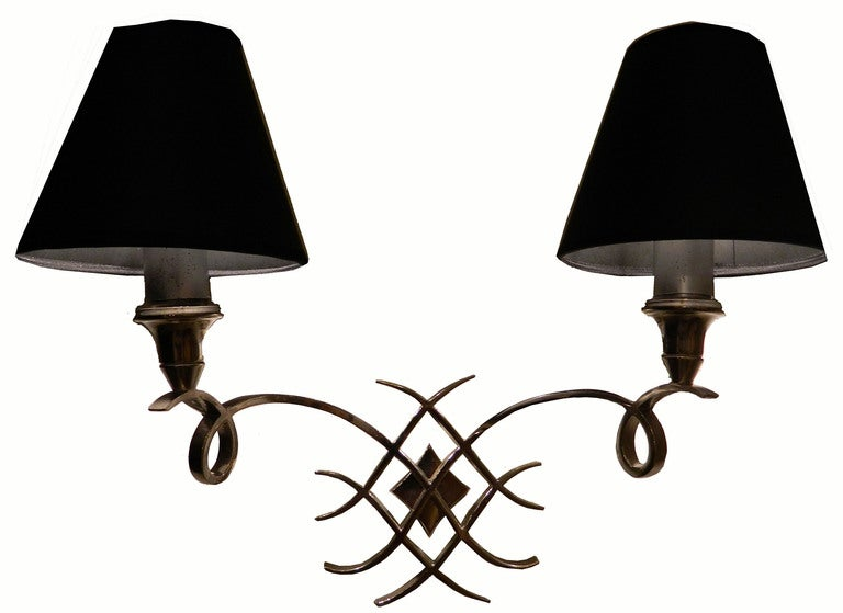 Neoclassical Pair Of Jules Leleu Brass Sconces For Sale