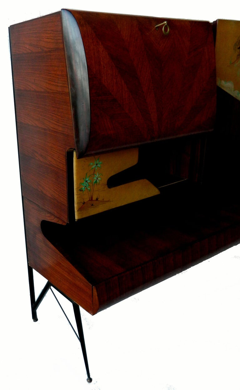 Mid-Century Modern Rare and Elegant Asian Motif Dry Bar Cabinet, Five Drawers For Sale