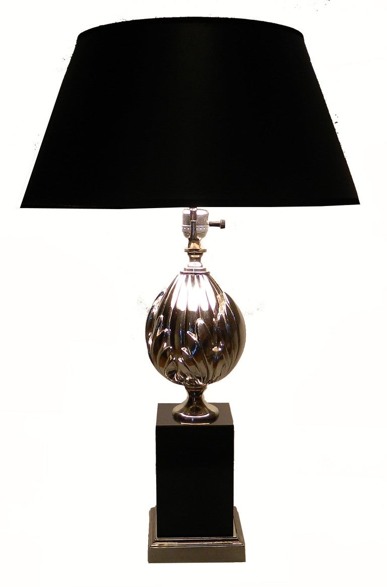 French Pair of Maison Charles St.Flower Lotus Table Lamps For Sale