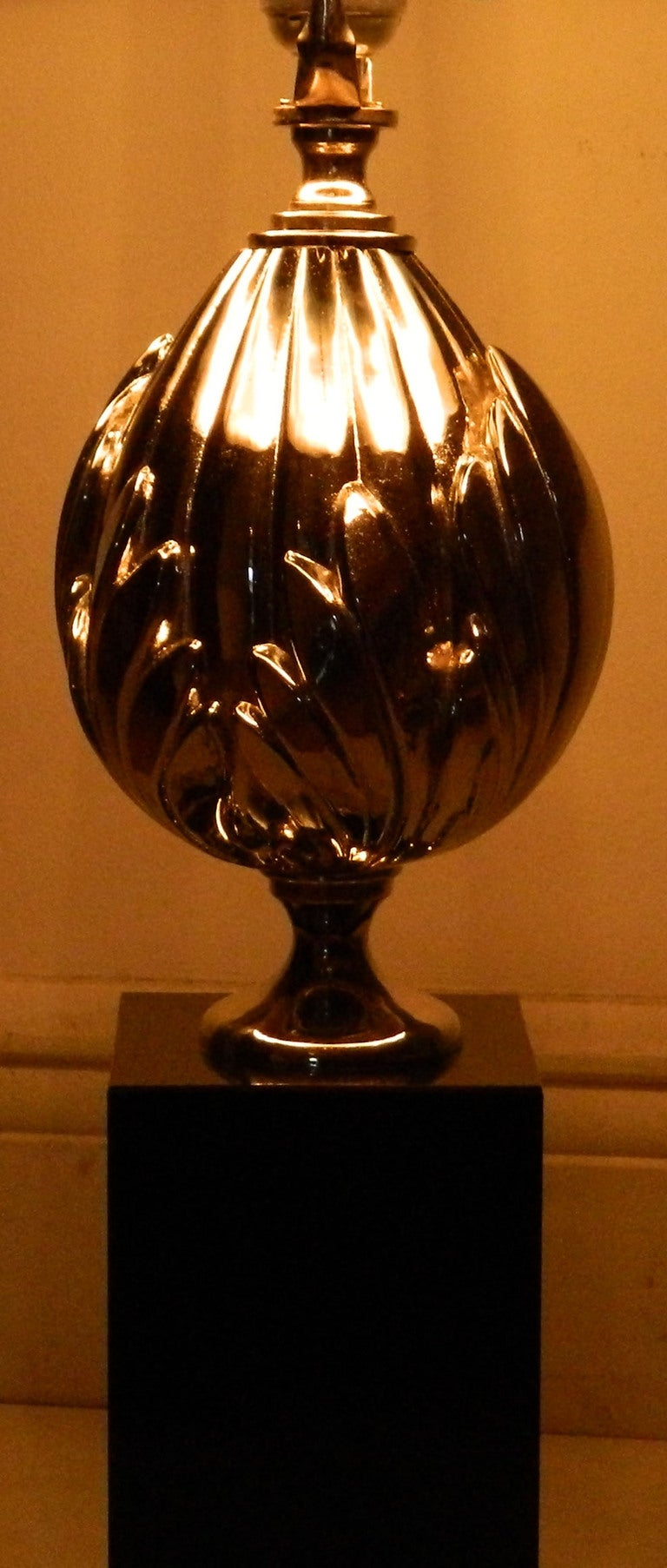 Pair of Maison Charles St.Flower Lotus Table Lamps In Good Condition For Sale In Miami, FL