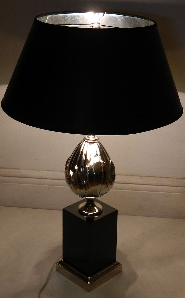 Pair of French Lotus flower Table Lamps nickel plated in the manner of Maison Charles. Measurements : Base 5