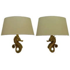 E. Guillemard Pair of Seahorse Sconces
