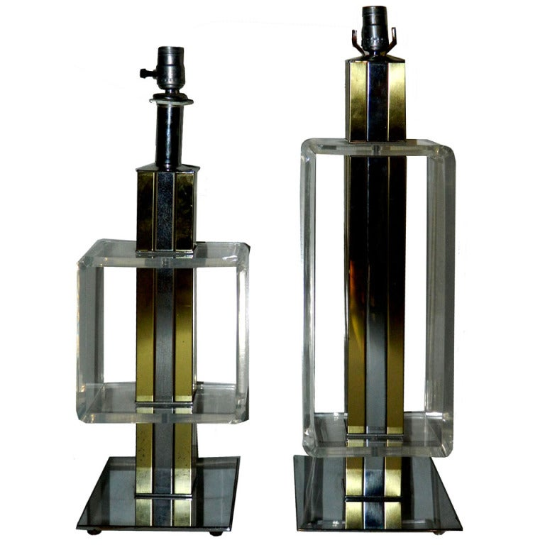 2 Elegant, Lucite, Chrome, Brass Table Lamps For Sale