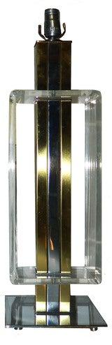 2 Elegant, Lucite, Chrome, Brass Table Lamps thumbnail 5