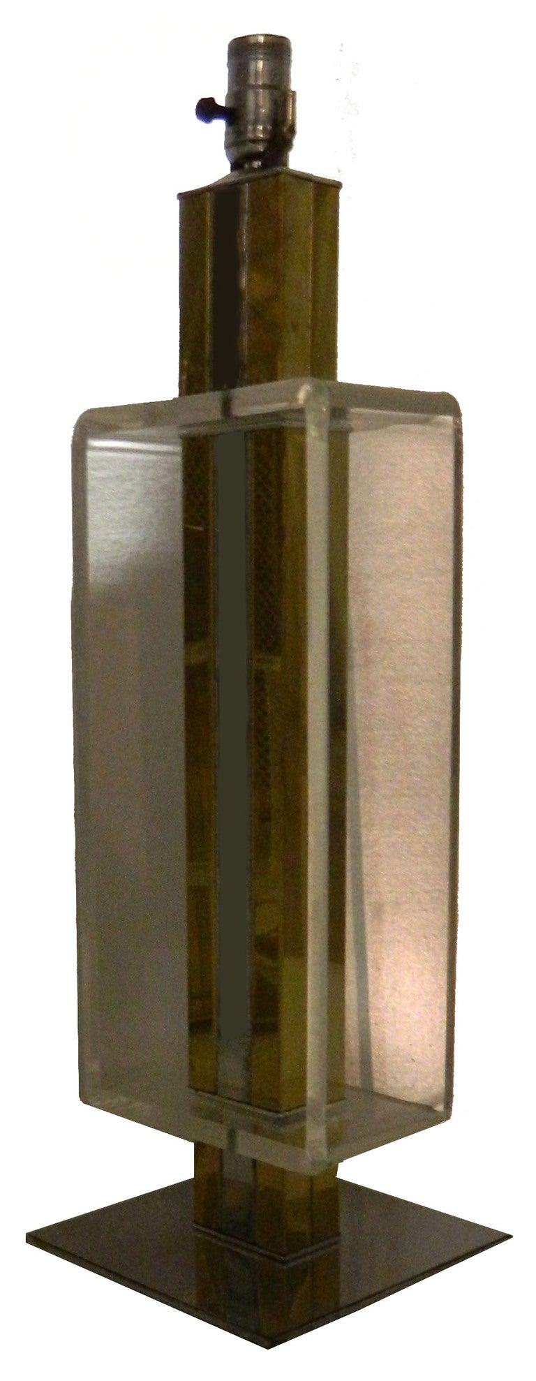 Italian 2 Elegant, Lucite, Chrome, Brass Table Lamps For Sale