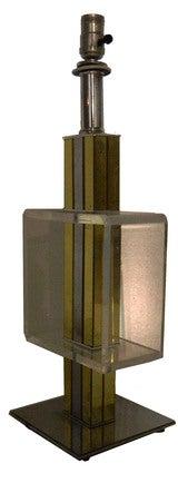 2 Elegant, Lucite, Chrome, Brass Table Lamps thumbnail 2