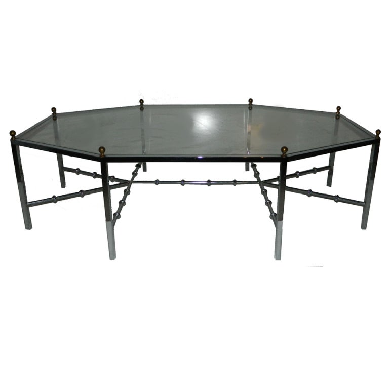 Huge Octogonal Cocktail Table by Maison Jansen