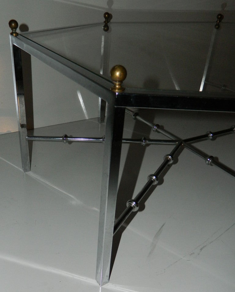 Glass Huge Octogonal Cocktail Table by Maison Jansen For Sale
