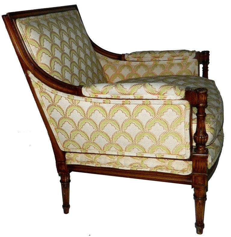 Very elegant stamped French bergere by Maison Jansen Paris. Waxed beech.
