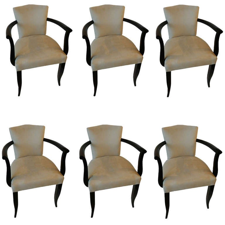 Set of Six Art Deco French Armchairs