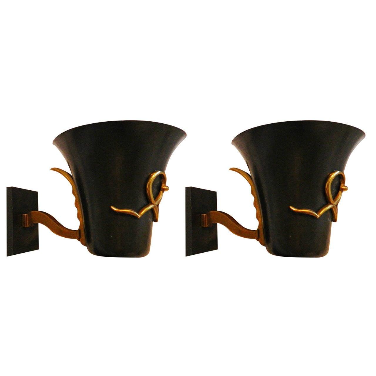 Black Painted Atelier Petitot Sconces, four Pair available
