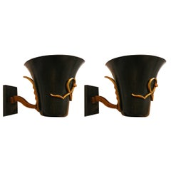 Black Painted Atelier Petitot Sconces, four Pair available