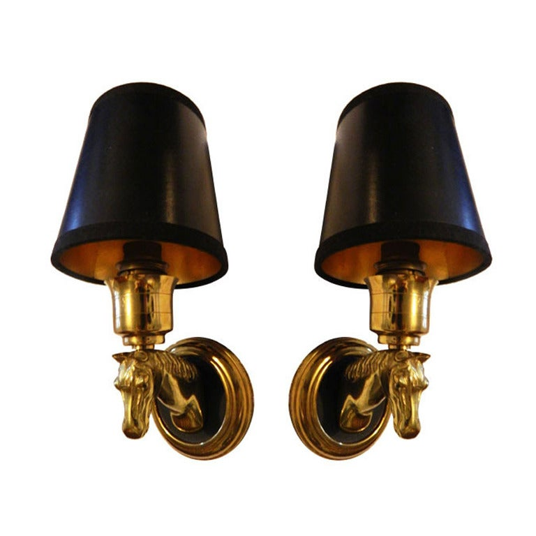 Wall Sconces Equestrian: Three Pairs Available Of French Horse Sconces, Priced By