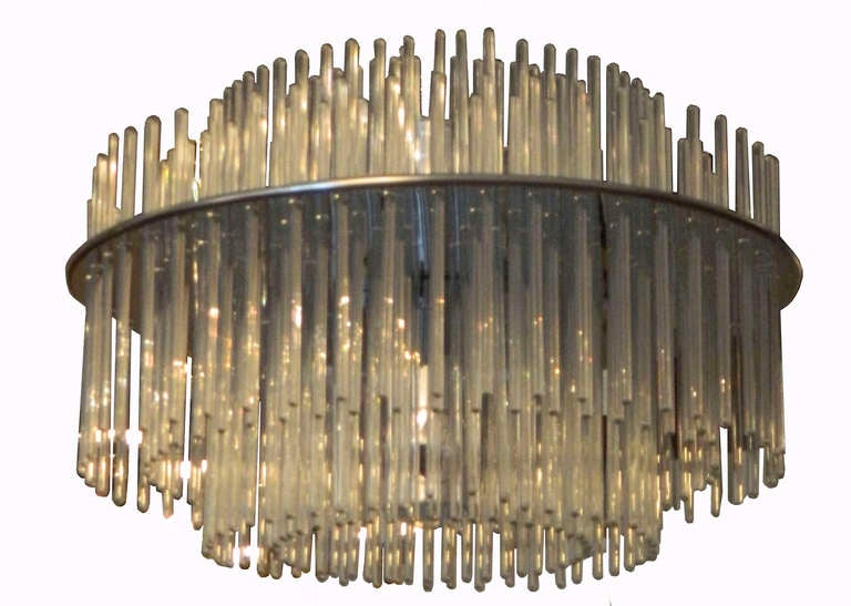 Chrome 196 Glass Rod Chandelier by Lightolier For Sale