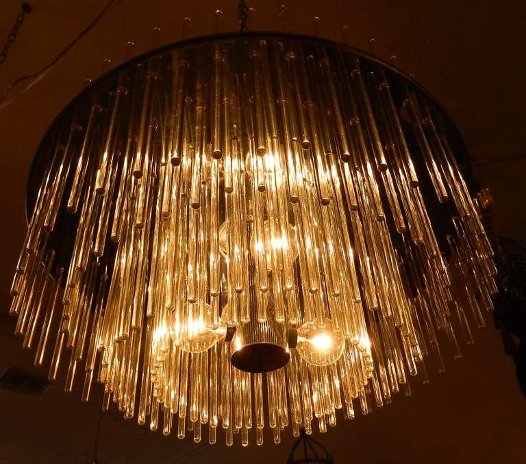 Italian 196 Glass Rod Chandelier by Lightolier For Sale