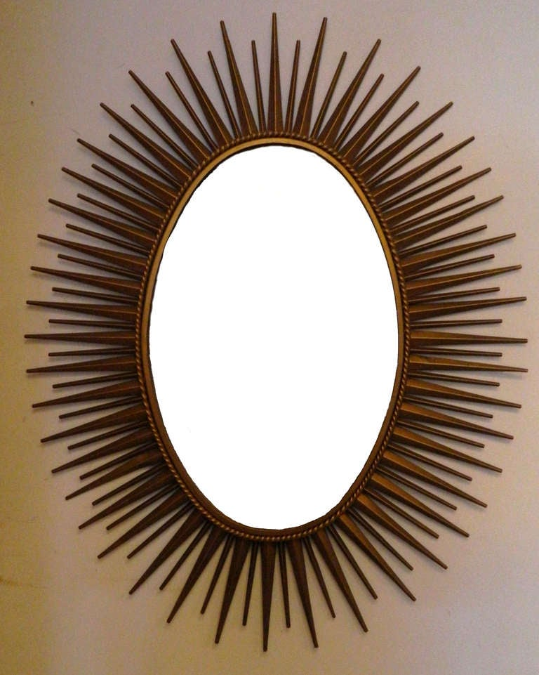 French Signed Chaty Sunburst Mirror For Sale