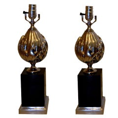 SATURDAY SALE. Pair Of Maison Charles Lotus Flower St Table Lamps