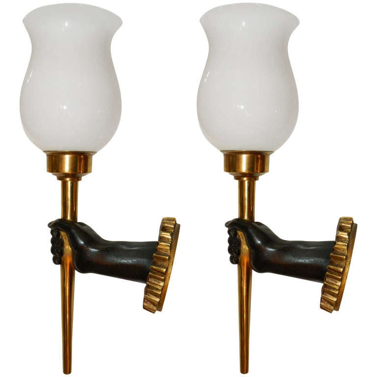 Pair of French Sconces by John Devoluy. 4 pairs available. Priced by pair