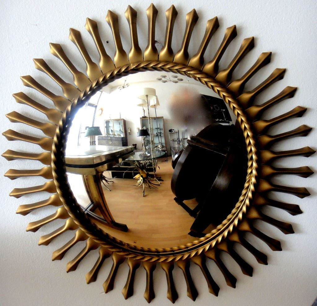 Plated Signed Chaty Vallauris Mid-Century Modern Brass Sunburst  Mirrors - Pair For Sale