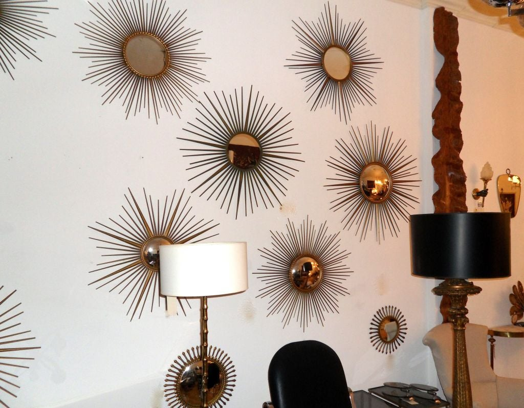Signed Chaty Vallauris Mid-Century Modern Brass Sunburst  Mirrors - Pair In Good Condition For Sale In Miami, FL