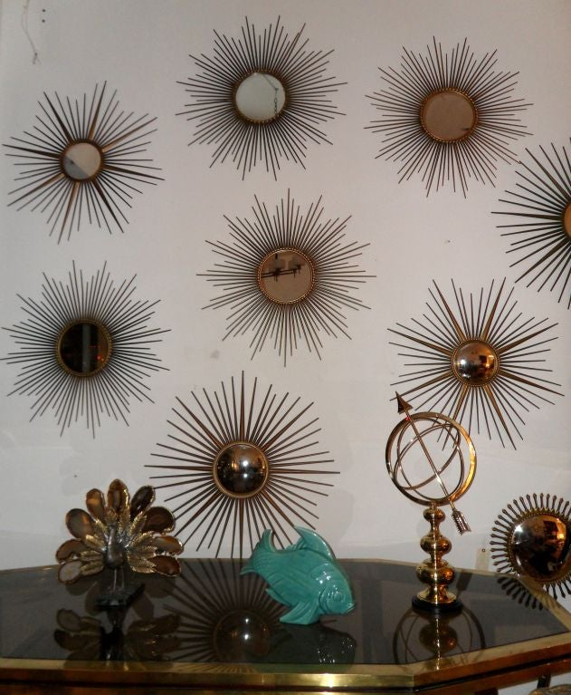 Mid-20th Century Signed Chaty Vallauris Mid-Century Modern Brass Sunburst  Mirrors - Pair For Sale