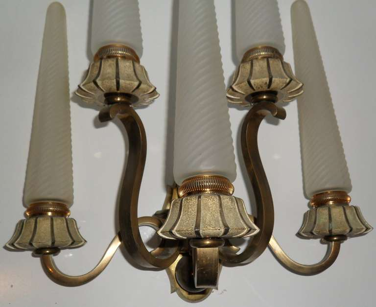 Brass Exceptional Pair of Sconces Designed by Maison Sabinot & Cristallerie de Sevres For Sale