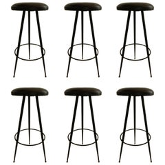 Set of 6  Jacques Adnet  style Bar Stools