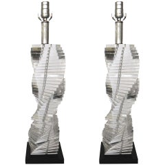 Pair of Mid-Century Modern Stacked Clear Lucite Lamps Spiral Staircase Design