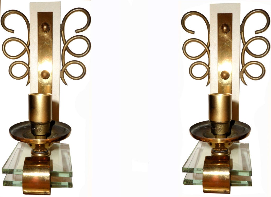 Mid-Century Modern Pair of 1950 French Sconces For Sale