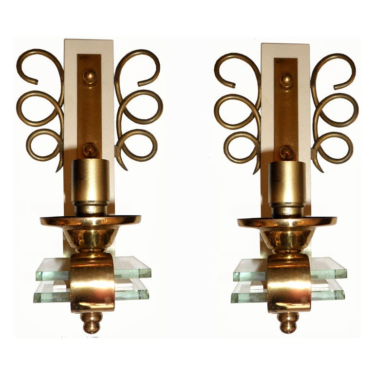 Original pair of 1950 sconces, brass and crystal. 3 pairs available. Priced by pair. Have a look on our impressive collection of French and Italian Mid Century  Period  Sconces......More than 100 pairs...