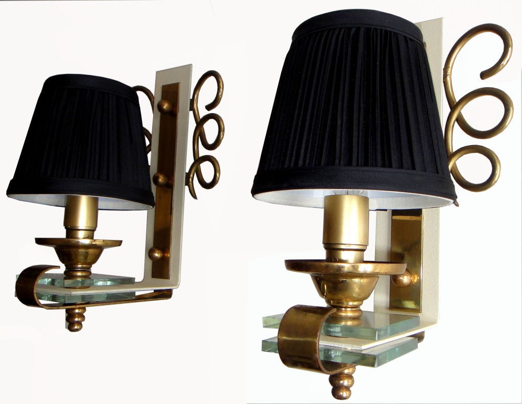Brass Pair of 1950 French Sconces For Sale