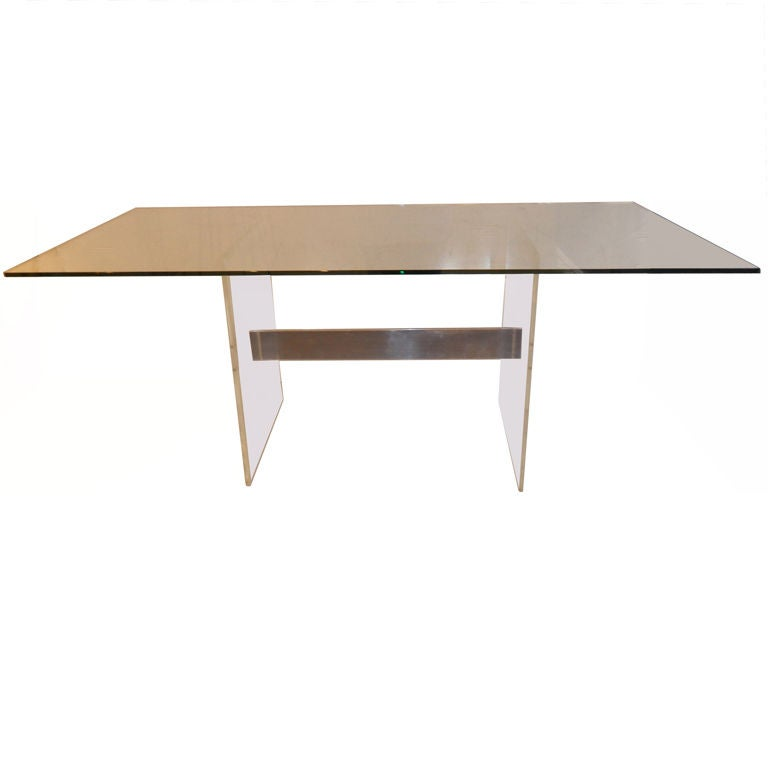 Lucite Desk or Dining Table at 1stdibs