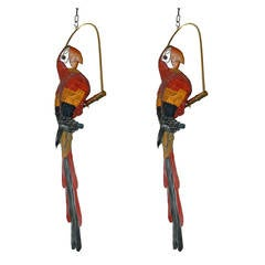 "2 Signed ""FEDERICO"" Leather Parrots on a Swing"