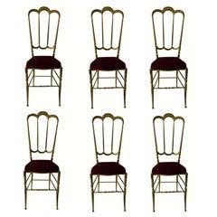 Six Chiavari Brass Chairs