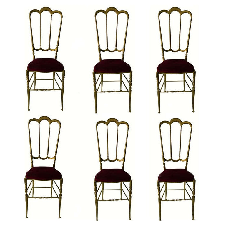 Six Chiavari Brass Chairs