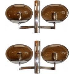 Modernist Italian Sconces Sciolari In Chrome Or Brass Smoked Glass Shades - Pair