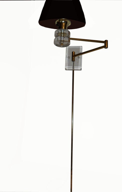 Pair of retractable lucite and brass wall sconces at 1stdibs